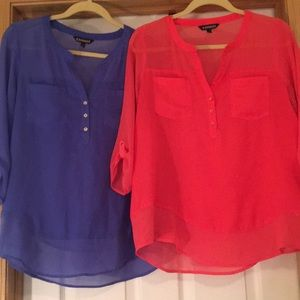 2 Express Dress Shirts- Coral & Periwinkle Size M
